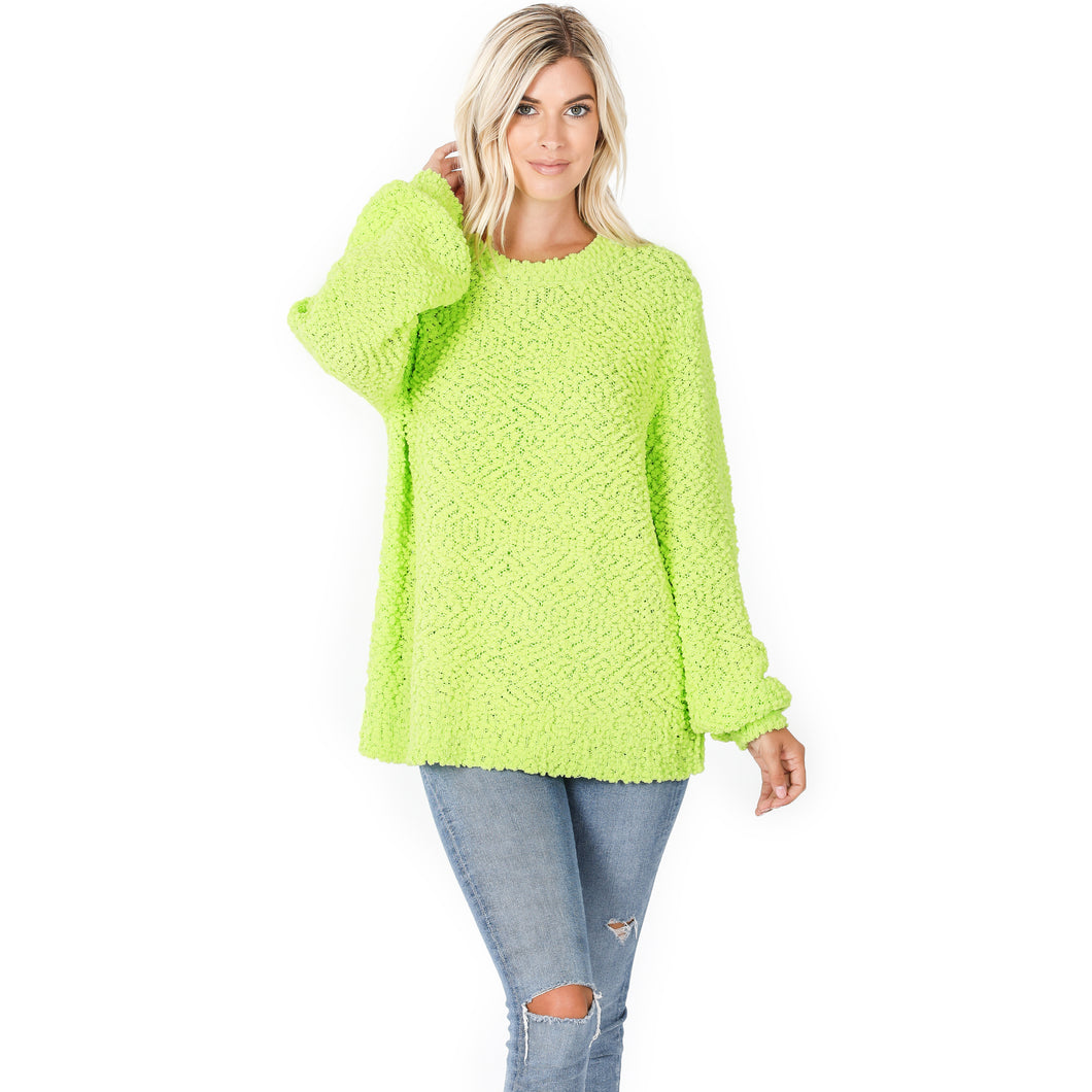 Popcorn Bubble Sleeve Sweater