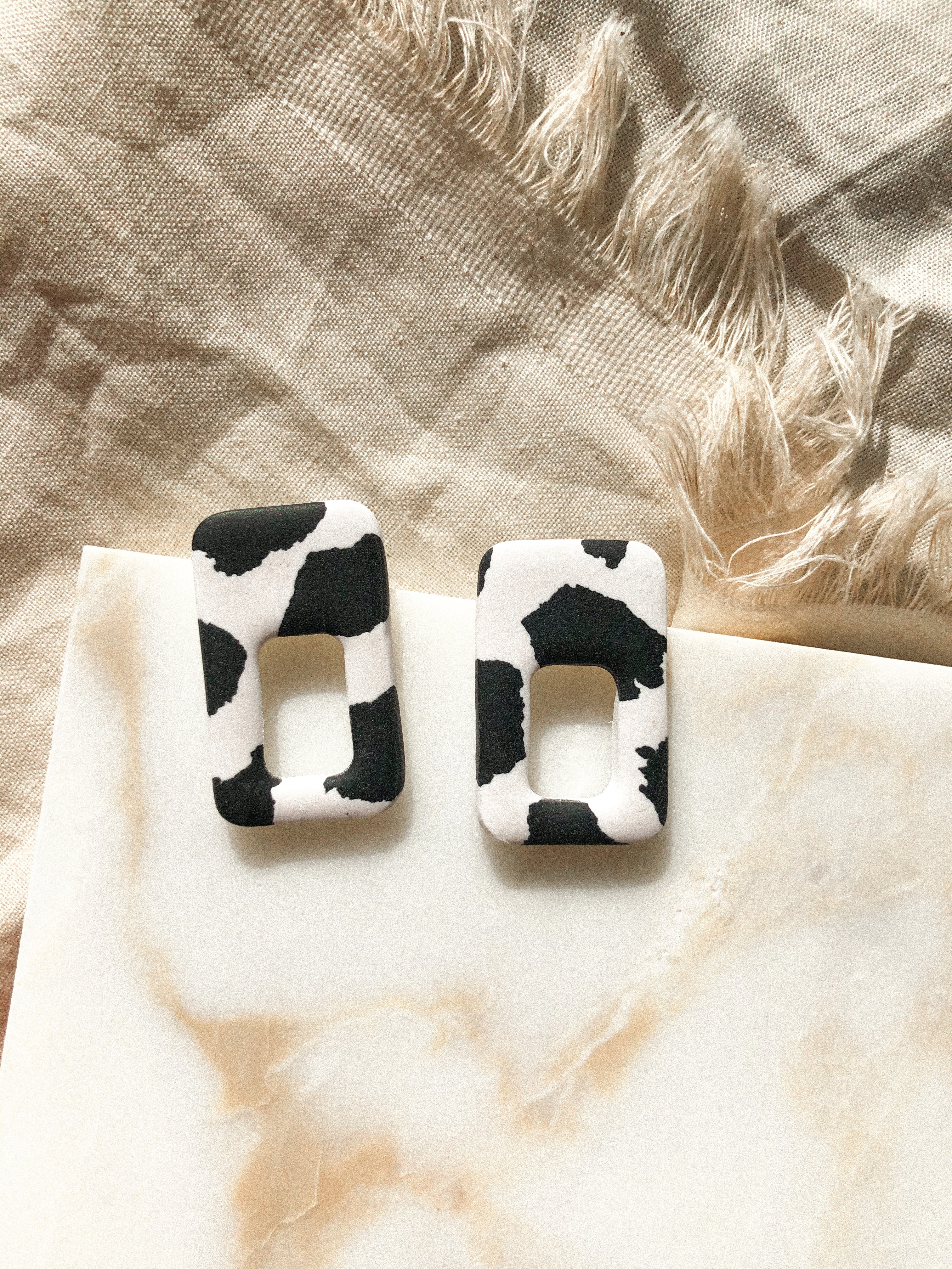 Cow Print Large Boxer Studs