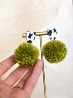 Pom Earrings - field of cows