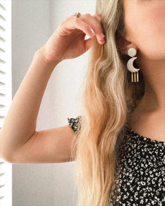 Selene Earrings in Pearl - Indiecords.co - Clay Polymer Earrings