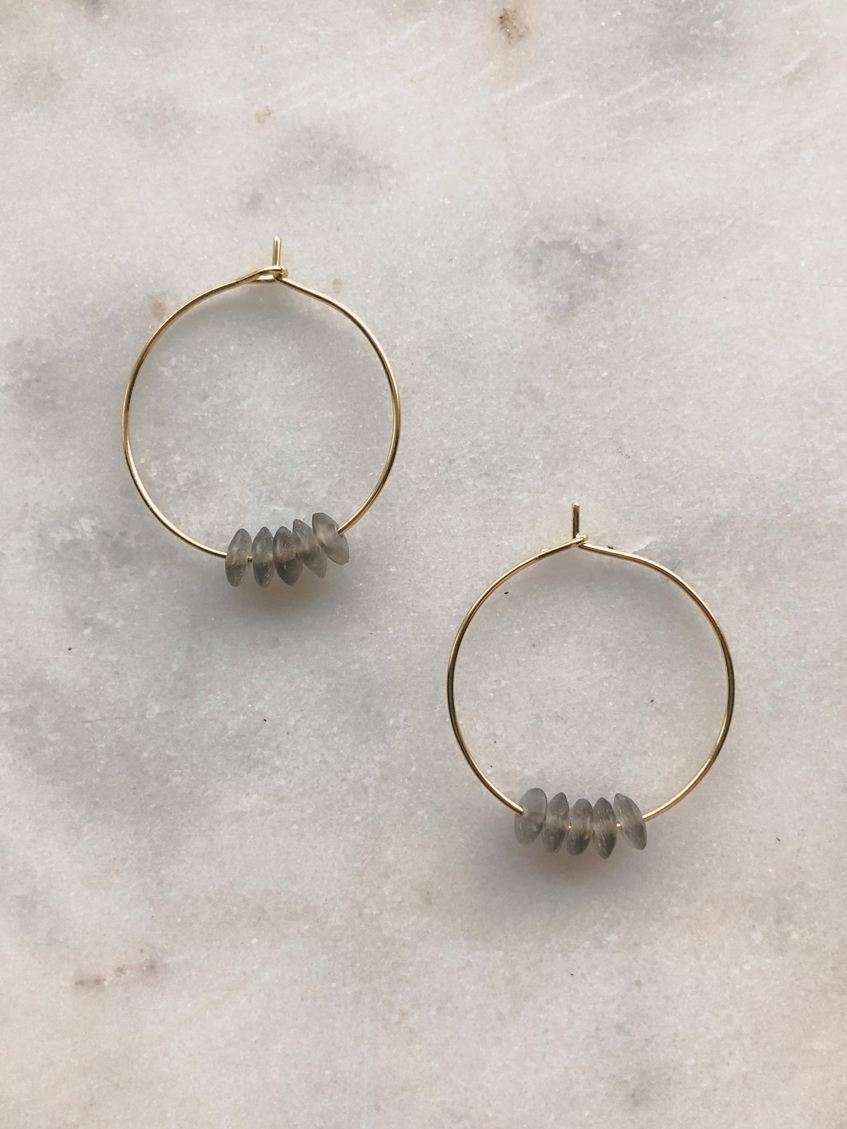Piedra Hoops in Ash - Indiecords.co - Clay Polymer Earrings