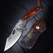 Falcon Damascus Steel Folding Knife