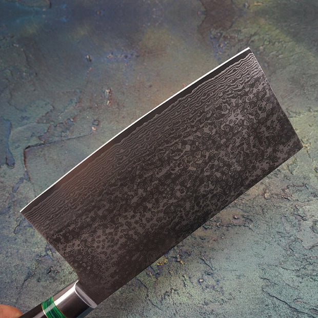 Luna Damascus Steel Chef's Cleaver