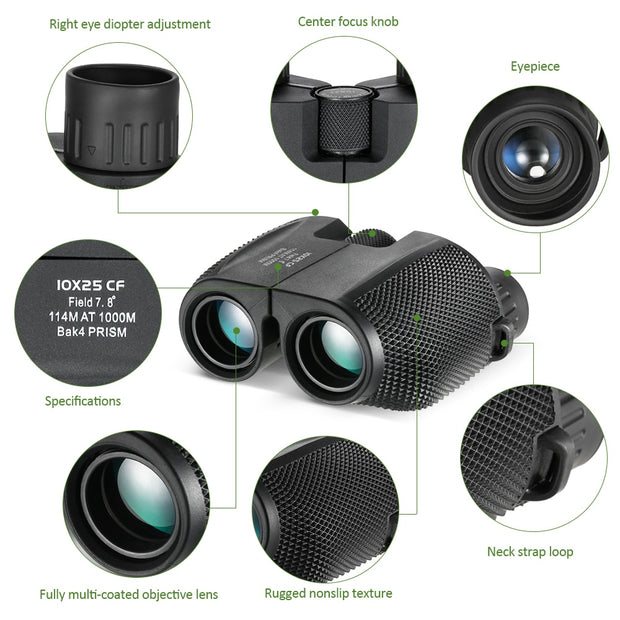 Professional 10x25 High-Powered Binoculars