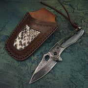 Caiman Damascus Steel Folding Knife