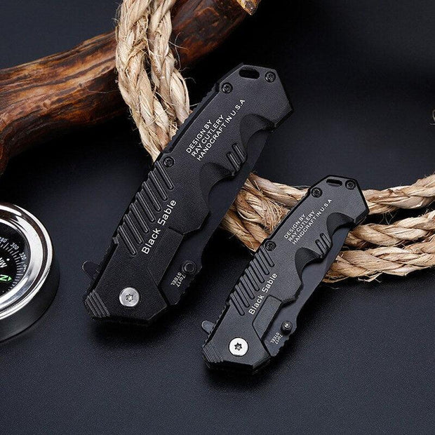 Black Sable Folding Survival Knife