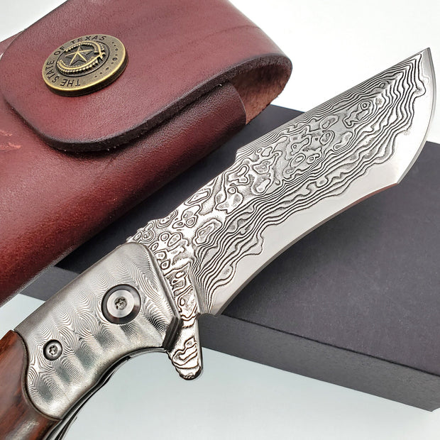 Handmade Snake Wood Damascus Steel Folding Knife