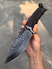 Goat Skull Handmade Damascus Steel Outdoor Knife