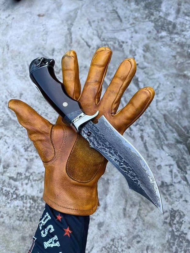 Skull Head Handmade Damascus Steel Outdoor Knife