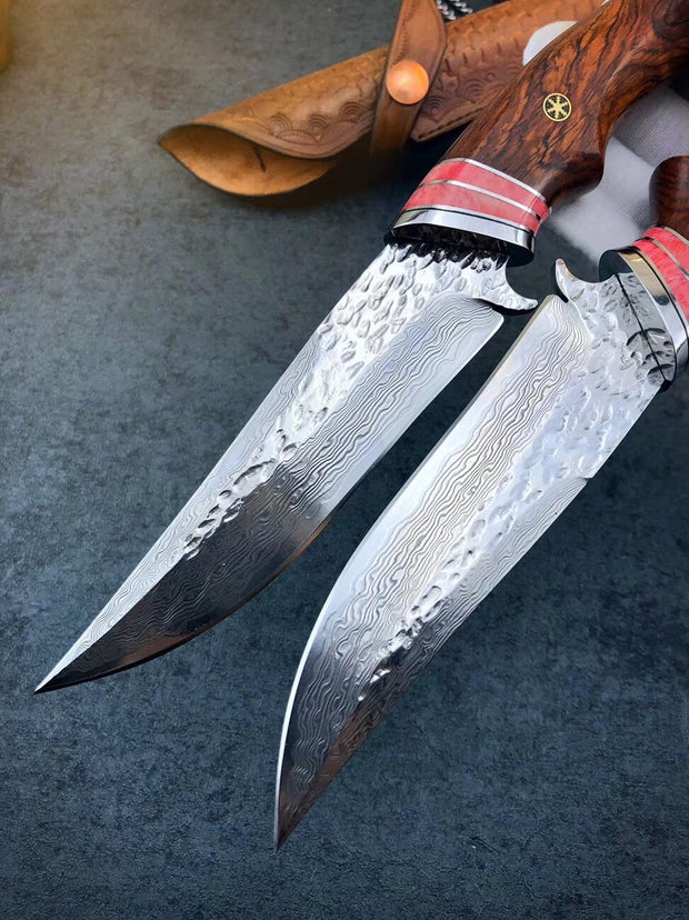 Redwood Handle Damascus Steel Outdoor Knife