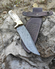 Handmade German Damascus Steel Knife with Antler Handle