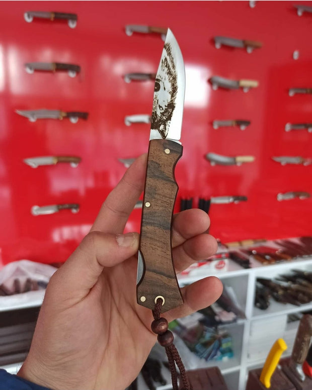 Handmade Wolf Print Pocket Knife