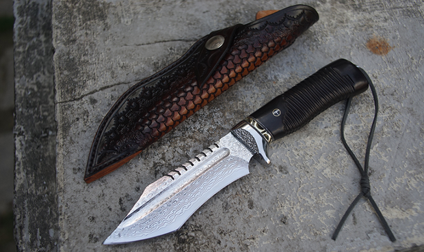 War Spike Damascus Steel Outdoor Knife
