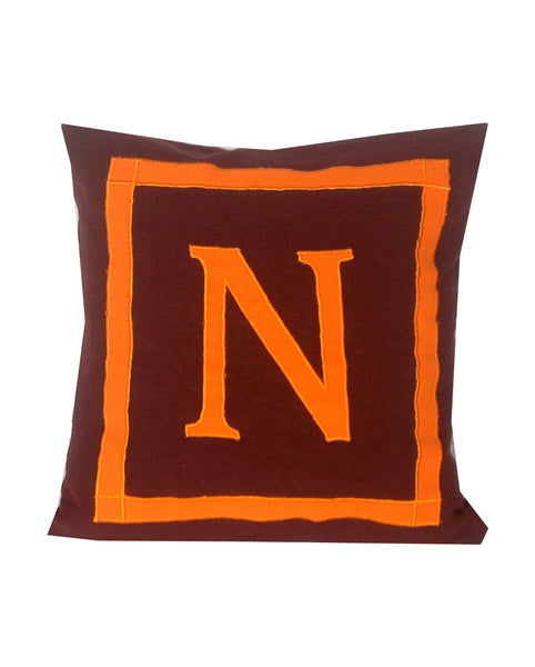30% OFF Brown orange Decorative Pillow Covers, Letter Pillows, 18 x18, Personalized Monogrammed Pillow Case, Personalized Sofa Pillows
