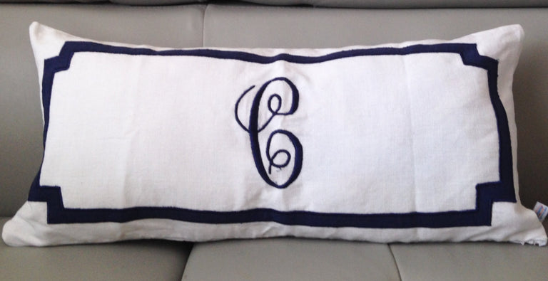 "Long Lumbar Oblong Pillows, Bedroom Decor, Monogram Lumbar Pillows, Personalized white Monogram Throw Pillow Cover 12""x 24"""
