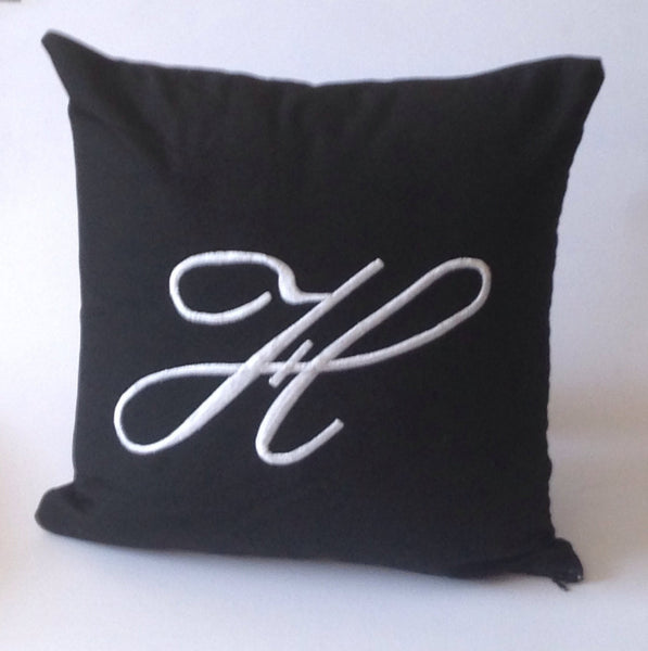 Black Outdoor pillows, Patio Outdoor/Indoor Monogrammed pillow cover, Patio Throw Pillows, Spa Pillows