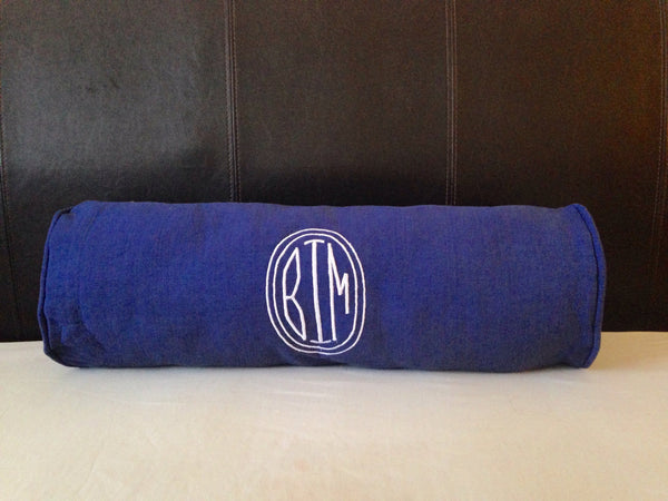 Custom Bolster Pillow Cover, Navy Yoga Pillow, Personalized Monogram Bolster Home Decor, Decorative Pillow Cover, Neck Pillow