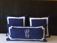 "Long Lumbar Oblong Pillows, Bedroom Decor, Monogram Lumbar Pillows, Personalized Navy Blue Monogram Throw Pillow Cover 12""x 24"""