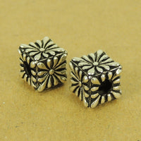 1 Pcs Sterling Silver Cube Bead Vintage DIY Jewelry Making WSP502X1 Wholesale: See Discount Coupons in Item Details