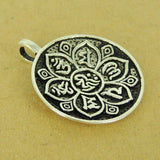1 PCS 925 Stamp Sterling Silver OM Pendant w/ Lotus DIY Jewelry Making WSP505 Wholesale: See Discount Coupons in Item Details