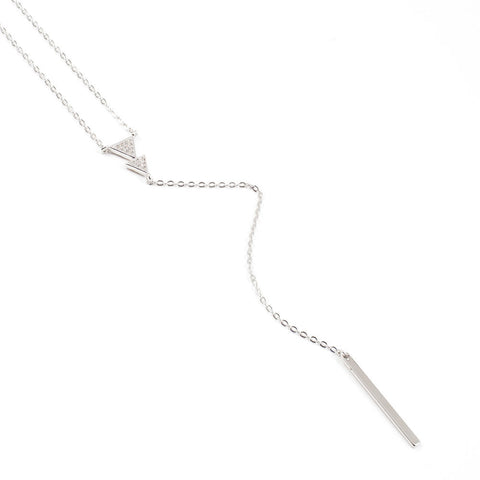 925 Sterling Silver Y Necklace, Silver Necklace, Minimalist Jewelry, Minimal Bar Lariat Necklace