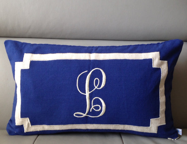 Monogram Lumbar Pillow Cover,  Personalized Monogrammed Pillows, Blue Sofa Lumbar Pillows, Wedding Gifts, Nursery Lumbar Pillow Cover