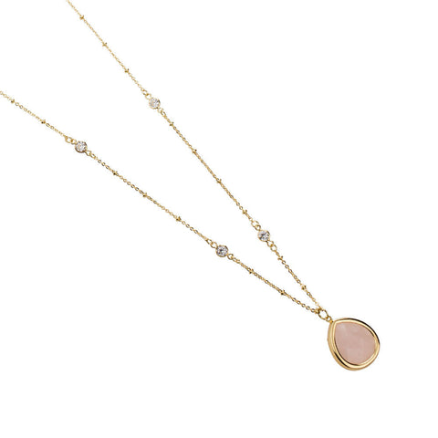 14k Gold Dipped Blush Pink Charm Pendant Necklace, Minimalist Jewelry, Minimalist Necklace, Boho Necklace, Long Necklace, Rose Gold Jewelry