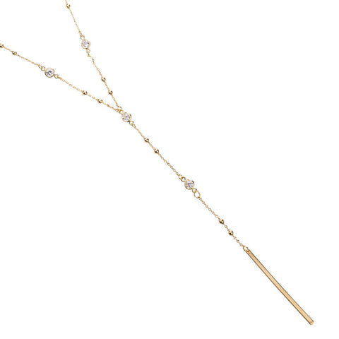 14k Gold Dipped Lariat Y Necklace Cubic Zirconia Brass Necklace, Minimalist Jewelry, Minimal Bar Lariat Necklace, CZ Layering Necklace