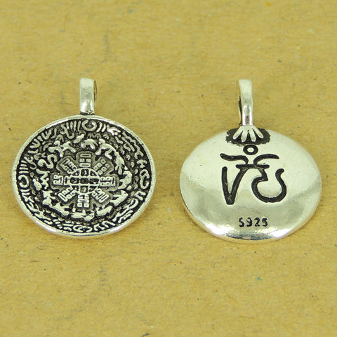 1 PCS 925 Stamp Sterling Silver OM Pendant DIY Jewelry Making WSP521 Wholesale: See Discount Coupons in Item Details