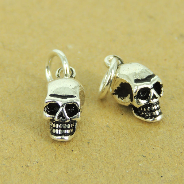 2 Pcs 925 Sterling Silver Small Skull Pendants DIY Jewelry Making WSP544X2 Wholesale: See Discount Coupons in Item Details