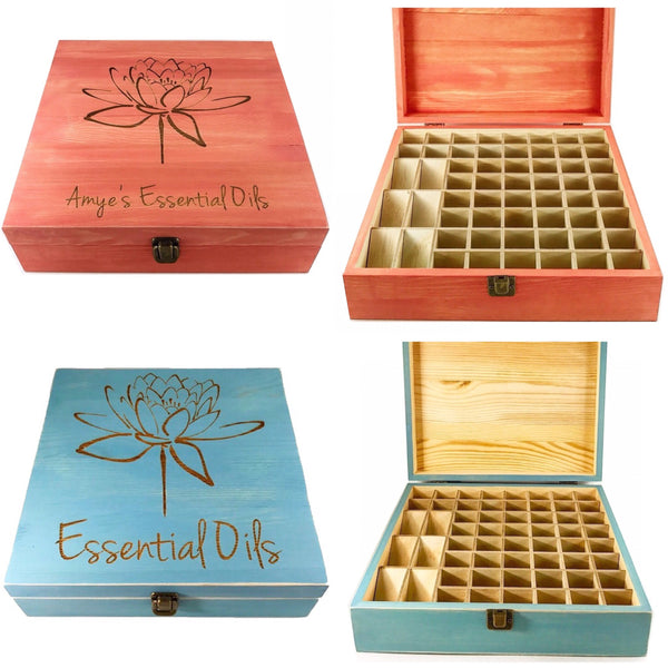 58 Slot Essential Oil Storage Box - Choose Stain Choose Design