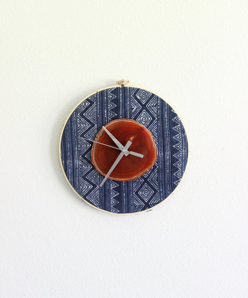 "10"" Textile Hmong Amber Agate Wall Clockg"