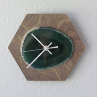 "8"" Green Agate Hex Wood Wall Clock (Silent)"