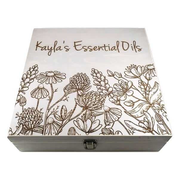 Wildflower Garden Box - Essential Oil Storage Box 58 Slot 15ml - Pine - Choose Finish and Custom Laser Engravings - Fit dōTERRA Young Living