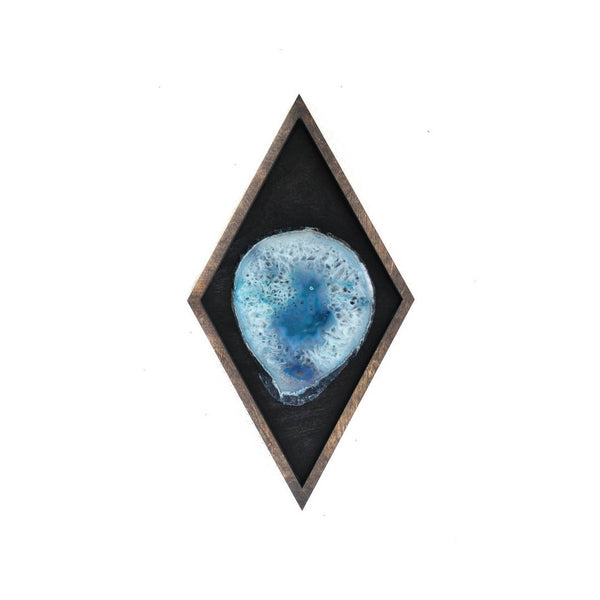 "13"" Teal Agate Framed Diamond Wall Art"