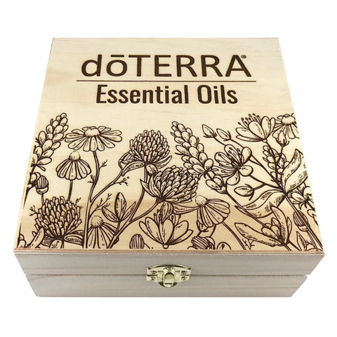 dōTERRA Wildflower Garden - Essential Oil Storage Box 25 Slot 15ml - Pine - Custom Laser Engravings - Host Gift New Advocate Gift