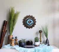 "12"" Teal Green Sunburst Agate Wall Clock"