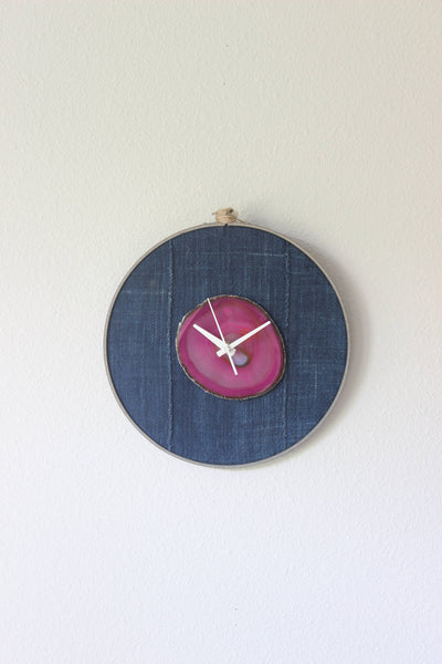 "10"" Textile Mudcloth Pink Agate Wall Clock"
