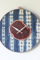 "10"" Textile Mudcloth Amber Agate Wall Clock"