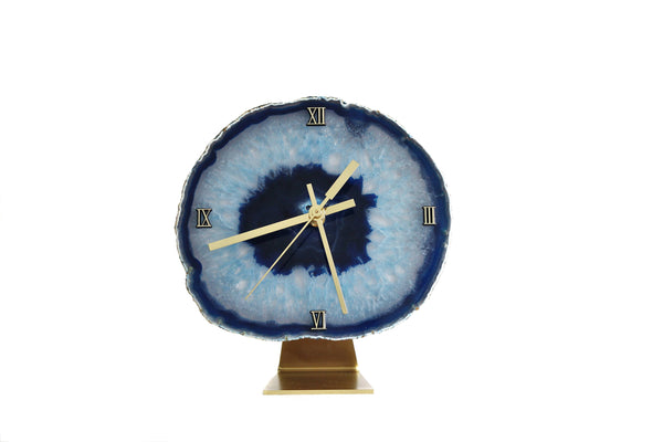 "8"" Blue Agate Desk Clock"