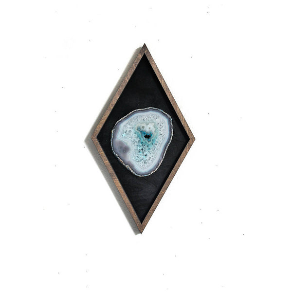 "16"" Teal Agate Framed Diamond Wall Art"