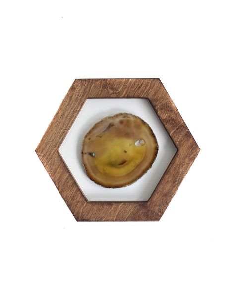 "10"" Yellow Agate Framed Hex Wall Art"