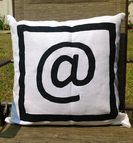 "30% OFF At Symbol Pillow Monogram18"" x18"" Black and White Decorative Pillow IN STOCK"