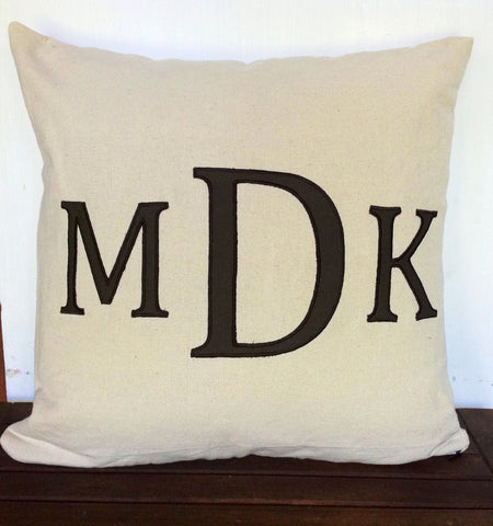 "Great gift ideas for her birthday, Home Decor, Three Letter Cream and Brown Personalized monogram covers 18x18"" Alphabet pillows"