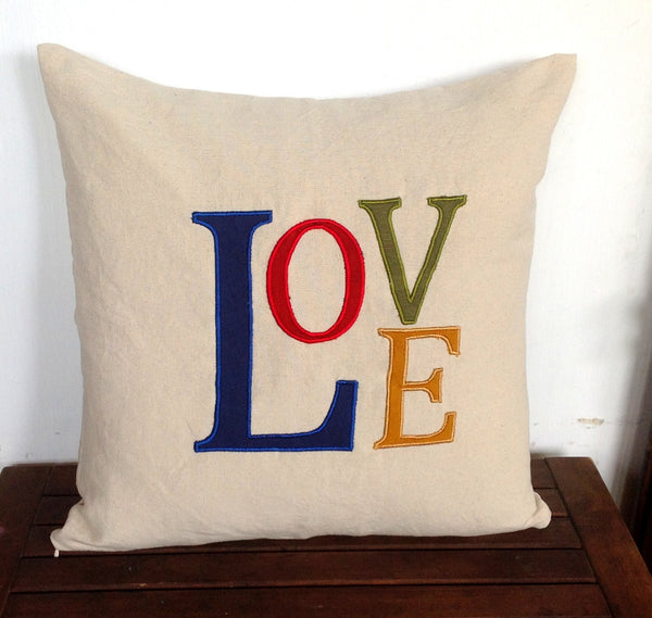 50% OFF Sale Valentine Unique Gifts, Love Valentine Gifts, Monogrammed Pillow Love, Love Pillows, Navy Blue, Red, Green, Yellow 18x18