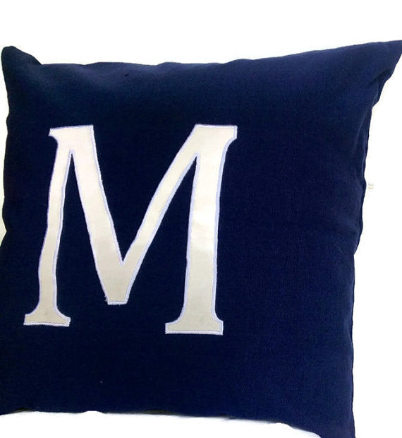 Monogrammed Pillows 16 inches Navy Alphabet- big letter cushions- Navy Blue Custom made Decorative Throw Pillow