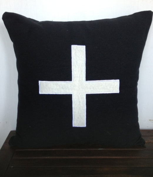 Monogram plus throw pillow- Black Cotton pillow cover - Ivory felt monogram cushion Gift-18 inch pillow