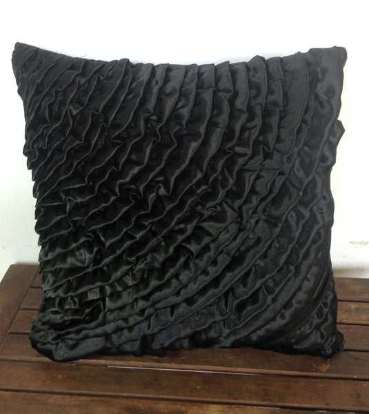 50% OFF Sale Black ruffles throw pillow 18x18-black cushion cover-ruffles decorative pillow