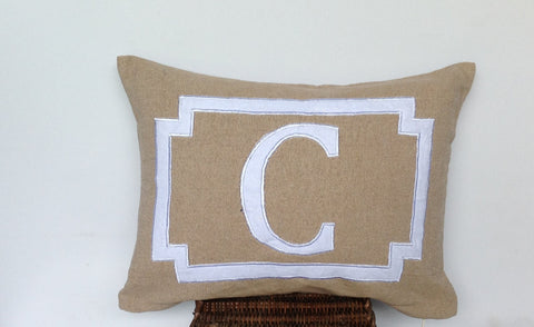 30% OFF Shabby Chic Pillows, Wedding Gift, Monogram Lumbar Pillows, Nursery Pillows, Alphabet Pillows