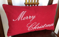 Holiday Pillow Covers, Christmas Red Pillow Cover- Embroidered Holiday Pillow Cover 12x20-Monogram Lumbar Pillow
